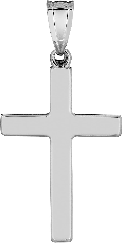 14K White Gold Polished Shiny-Cut Small Budded Cross Charm