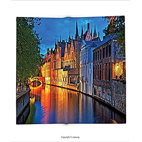 Custom printed Throw Blanket with Medieval Decor Night Shot of Historic Middle Age Building along the River in Bruges Heritage Old Town Photo Decor Multi Super soft and Cozy Fleece (Nice Shot Snoopy)