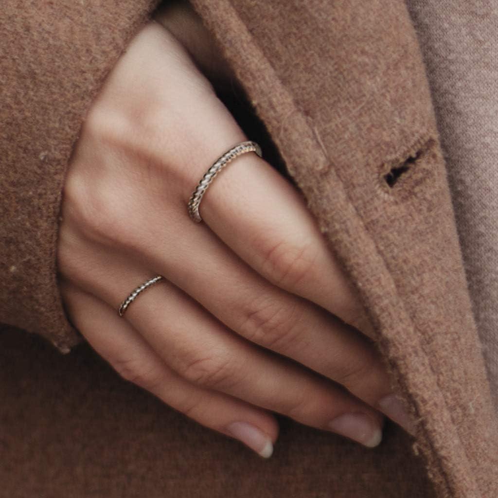 TATA GISELE /© Bague Femme en Acier Inoxydable Argent/é Anneau en Forme de Vague Largeur 2 mm