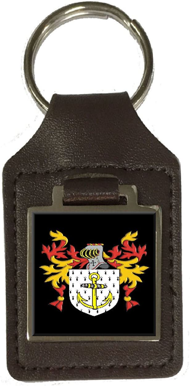 Imlach Family Crest Surname Coat Of Arms Brown Leather Keyring Engraved