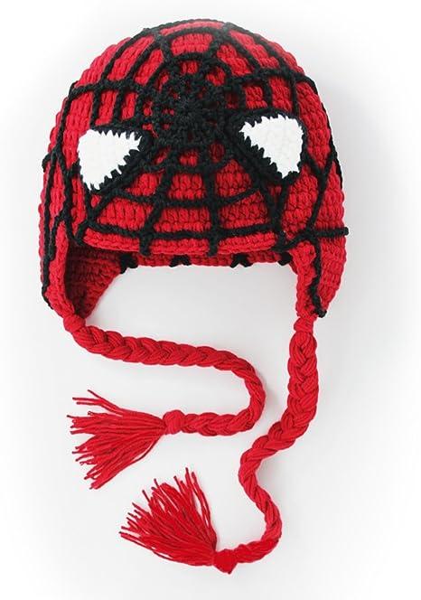 Bebé, toddleer, gorro de Crochet Spiderman Beanie sombrero hecho a ...