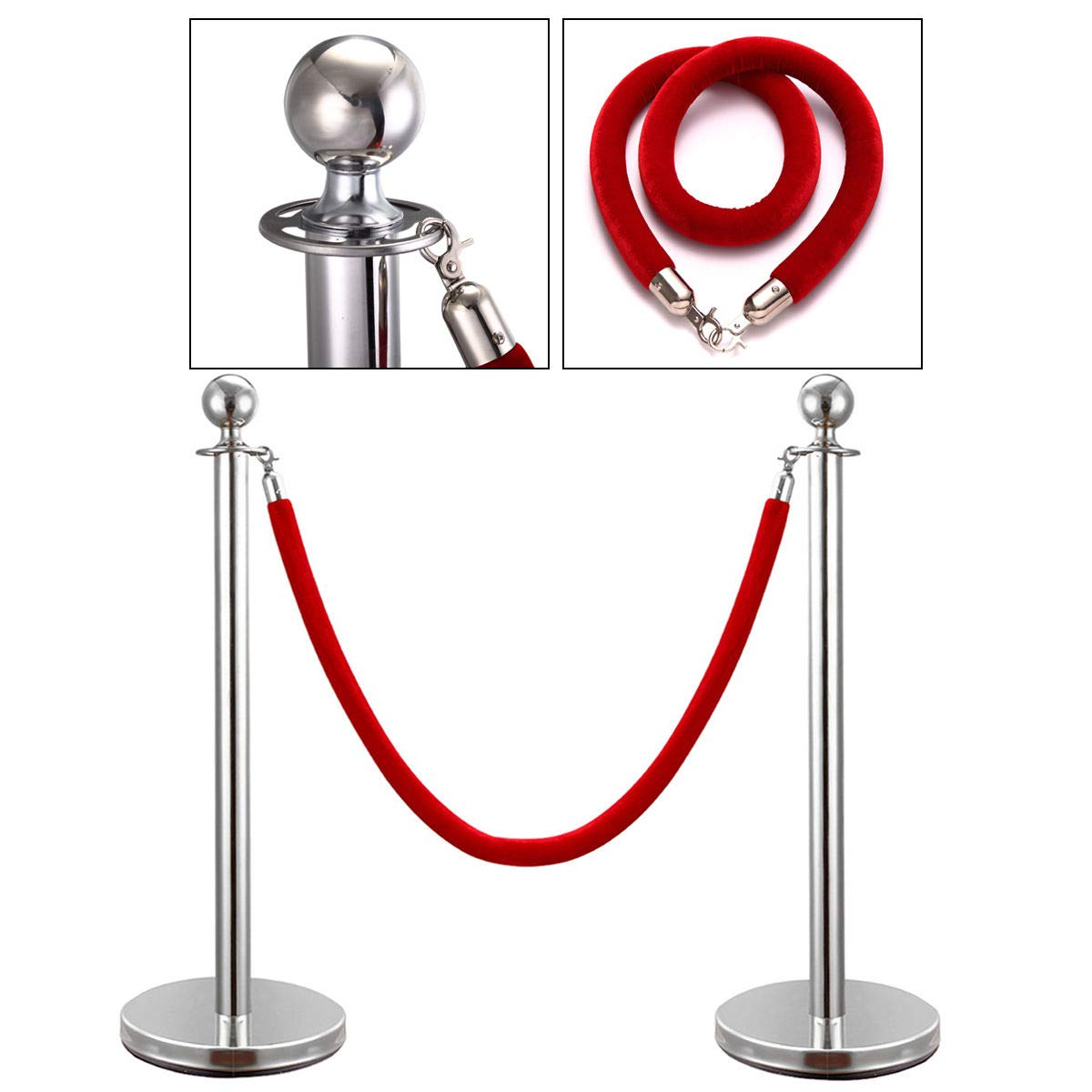 Pack of 2 Silver Ball Top Stainless Stanchion Posts Set Queue Safety Barrier with Red Velvet Ropes