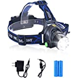 LED Headlamp Flashlight Waterproof Rechargeable Headlamps Zoomable Adjustable Focus Cree T6 Headlight For Camping Hiking Hunting Running Working Outdoor Sports With 18650 Batteries Charger USB Cable