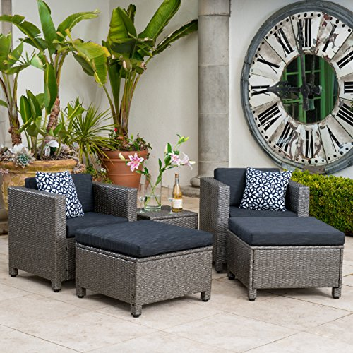 Venice Outdoor Wicker Patio Furniture Grey & Black Sofa Seating Set w/Cushions (5 Piece Set, Grey and Black Chat Set) Review