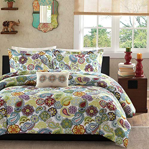 Kaputar Beautiful Modern Chic Green Teal Aqua RED Blue Purple Medallion Comforter Set | Model CMFRTRSTS - 41 | Queen