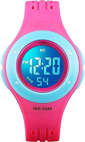 Relojes digitales para niños y niñas, 50 m, resistentes al agua, edad 5-7 7-10 10-15 con alarma cronómetro para niños y niñas: Amazon.es: Relojes