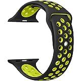 Gersymi Apple Watch Cinturino Nike + Series 1 Series 2 Series 3,sportivo Silicone Sostituzione Sport Wristband Cinturino da Polso per iWatch Nike Sport Band Strap M/L (42mm, Black/yellow