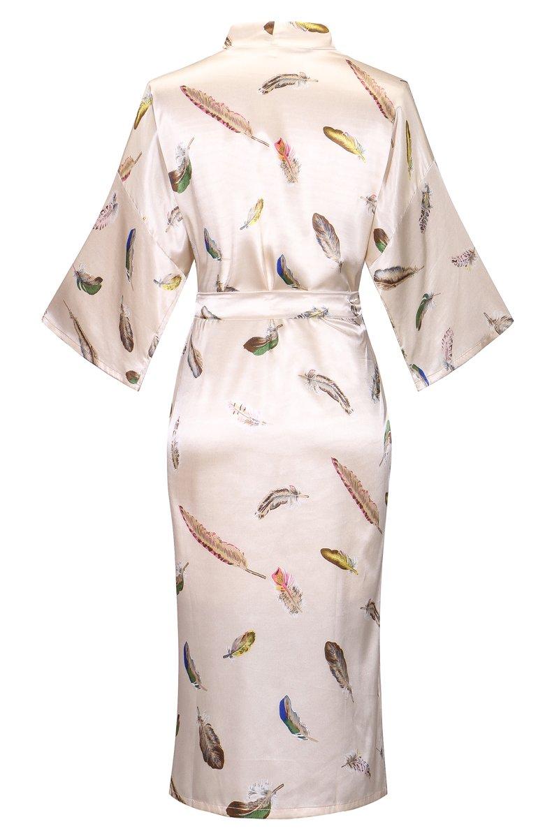 DandyChic Women's Kimono Robes Feather Print Kimono Imitation Silk Long Style by DandyChic (Image #2)