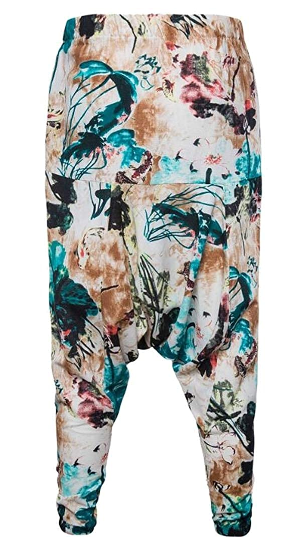 CRYYU Men Hip Hop Chinese Style Loose Fit Hollow Out Cotton Linen Floral Printed Lounge Pants Trousers