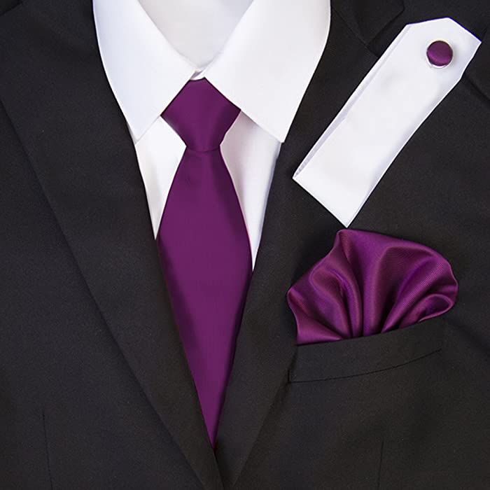 aa210e695f4c TNS Dark Magenta Wedding Ties Set - Cufflinks Hanky: Amazon.co.uk ...