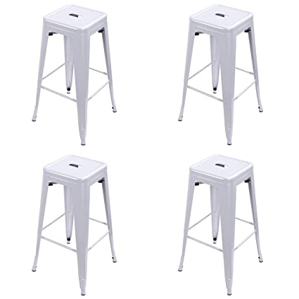 Costway Tolix Style Bar Stools 30 Industrial Metal Backless Stackable Stools Set Of 4 Silver