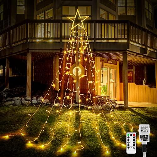 344er LEDs Lichterkette Weihnachtsbaum, 3.6M Weihnachtsbaum-Überwurf-Lichterkette mit 9 Girlanden und Sterne, Weihnachtsbaum Lichter Wasserdicht weihnachtsbeleuchtung für tannenbaum,grüngürtel,busche