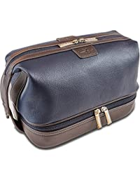 Leo Leather Toiletry Bag for Men - Dopp Kit - Handmade for Traveling Vacations and Adventures. The ultimate gift and travel accessory.