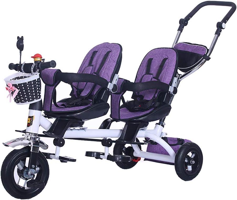 GHDE& Triciclo de niños, Bicicleta de Doble Asiento para niños con Bloqueo del Pedal y Ruedas silenciosas, Cochecito de bebé Gemelo Ajuste de 18 Meses a 6 años