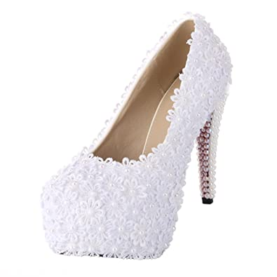 Amazon velcans studded white flower lace high heel bridal velcans studded white flower lace high heel bridal bridesmaid wedding and prom pumps shoes 55 mightylinksfo
