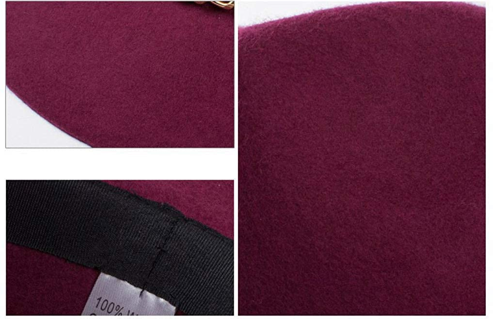Modischer Unisex Fedora Hut mit breiter Krempe und Goldkette f/ür Damen Wolle Classic Jass Hut