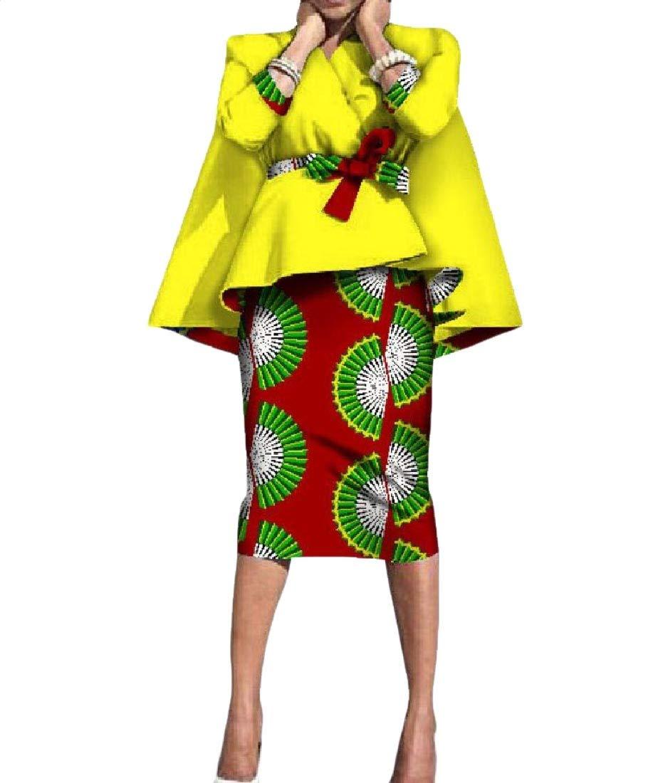Comaba Womens Dashiki Accept-Waist 2-Piece Africa Fashion Bodycon Skirt 5 5XL