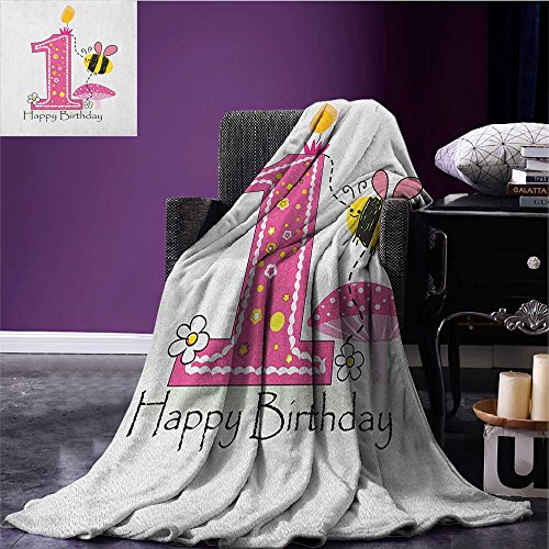 (1st Birthday emergency blanket Cartoon Style Image with the Bees Party Cake and the Candle Print Print Pink Black and Yellow size:50