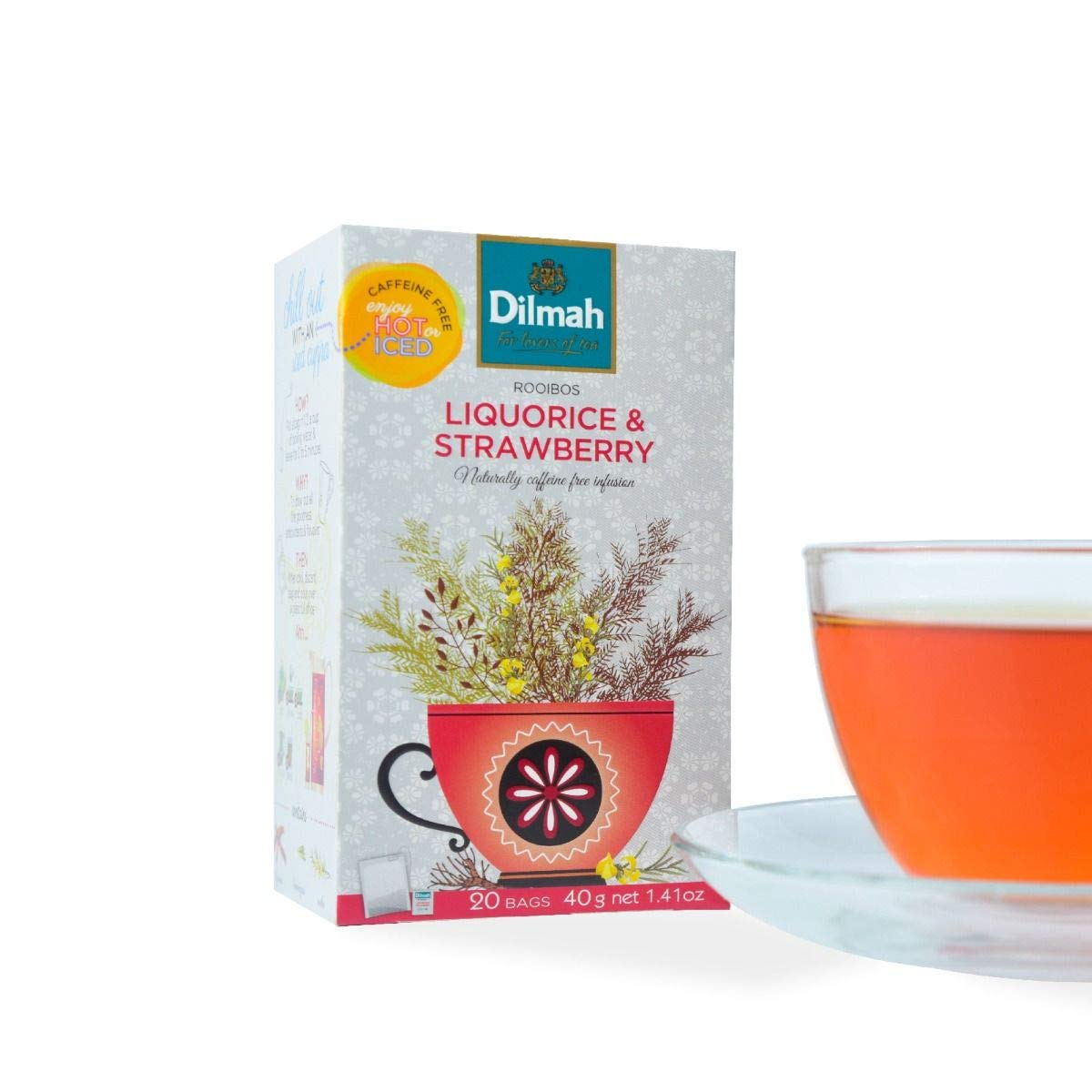 Dilmah Red Rooibos with Liquorice and Strawberry Tea - 20 Tea Bags X 8 Pack - Naturally Caffeine Free by Dilmah