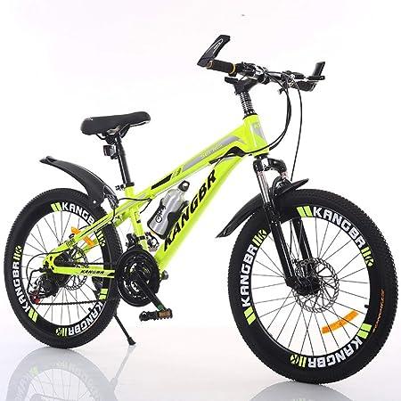 XYUJIE Bicicleta para Niños 20-22-24-26 Pulgadas De Pintura Amortiguadora Dentro De Los Frenos De Disco En Bicicleta De Montaña,Yellow-22inches: Amazon.es: Hogar
