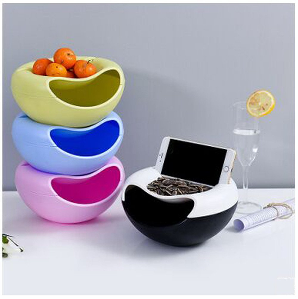 Blue Cloudro Nut Snack Bowl with Cell Phone Holder Slot,Double Dish Snack Serving Tray Shell Storage Bowl