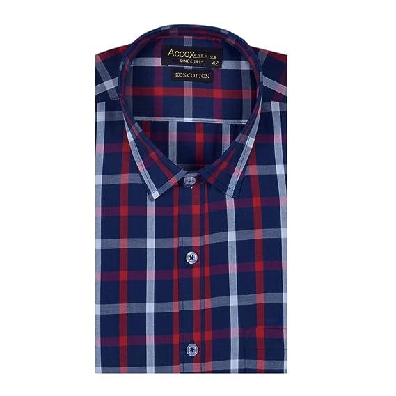 e15f6760147 ACCOX Men s Cotton Half Sleeves Formal Fit Check Shirt (Multicolour ...