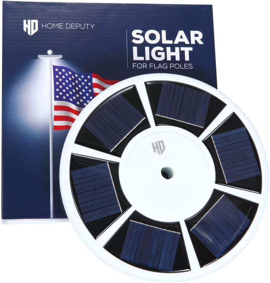 """Solar Flag Pole Light - 111 LED Super Bright Solar Light for Flag Pole - Suits most 15-25ft in-ground flag poles with 0.5"""" diameter Ornament Spindle – Long lasting dusk to dawn Lithium Battery"""