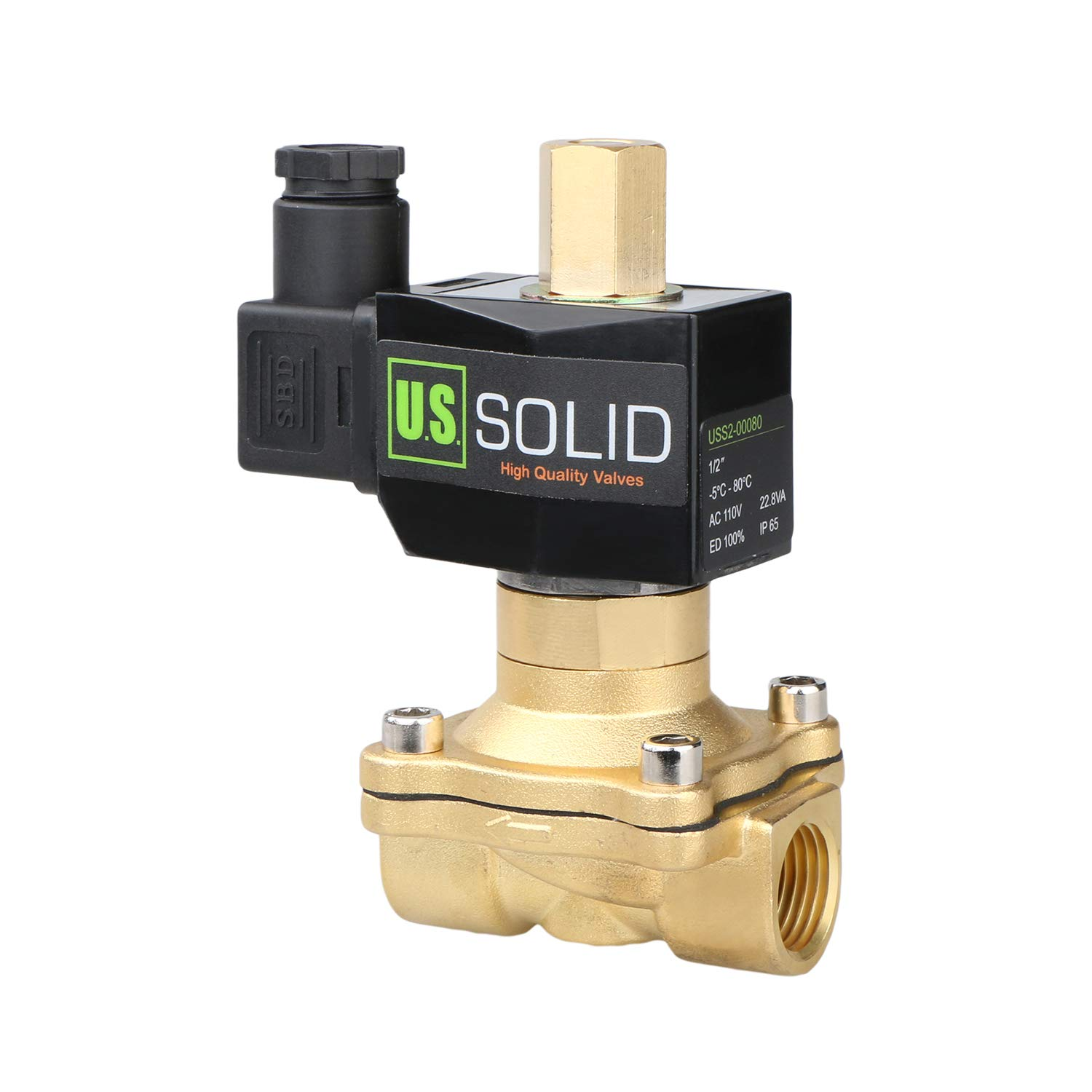 1/2'' Brass Electric Solenoid Valve 110V AC NBR SEAL N.O. (Air, Gas,Fuel.) by U.S. Solid