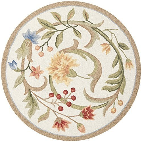 Safavieh Chelsea Collection HK248A Hand-Hooked Ivory Premium Wool Round Area Rug (3' Diameter)