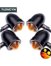 TUINCYN Faros intermitentes para motocicleta, aluminio anodizado, intermitente, 12V CC, 4piezas, color negro