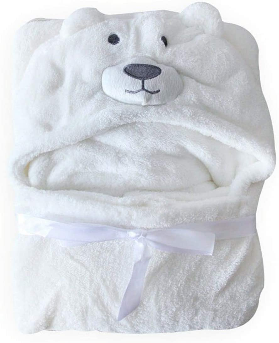 Perfect for Newborn Baby Boys Girls Hilmocho Hooded Baby Towel Infant Toddler Swaddle Wrap Soft Warm Coral Fleece Animal Hooded Blanket