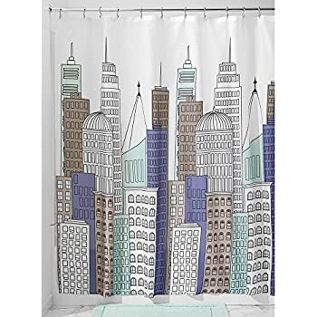 InterDesign Skyline Shower Curtain, Blue/Gray