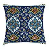 Ambesonne Moroccan Throw Pillow Cushion Cover, Authentic Oriental Motif with Vintage Byzantine Style Tile Effects Artwork, Decorative Square Accent Pillow Case, 20 X 20 Inches, Mustard Royal Blue