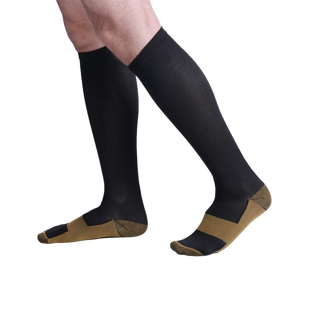 PU Health Pure Acoustics Top Quality Pain Relief Calf High Copper Compression Socks for Men and Women