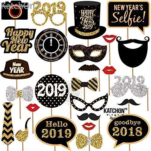 New Years Photo Booth Props Pack Of 27 Real Glitter 2019 New