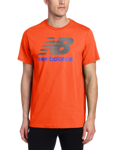 New Balance Men's Large Graphic Logo Tee, Tangerine, - Men's Wearhouse Orange