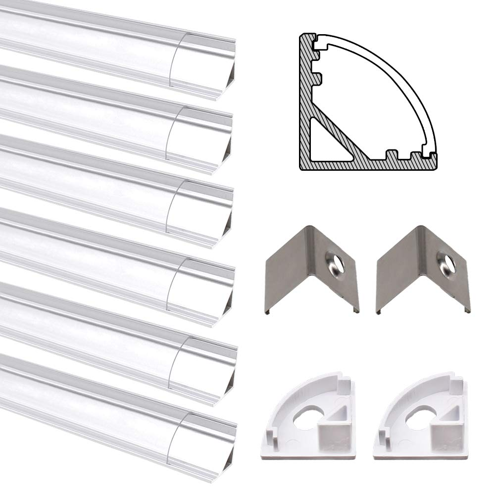 JIRVY 6 Pack 1M/3.3ft LED Aluminum Channel Profile U-Shape Aluminum Extrusion Track W Clear Cover End Caps Metal Mounting Clips for <12mm 5050 3528 LED Flex/Rigid Strip Lights (V Shape)