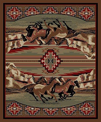 (Dean Mesa Verde Lodge Cabin Western Ranch Horse Area Rug 5'3