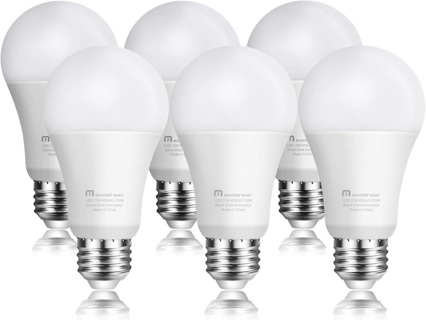 1-pk FireFly A19 10W Dimmable 60W LED Light Bulb 2700K Warm White E26 800 Lumens