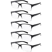 Eyekepper 5-pack Spring Hinges Vintage Reading Glasses Men Readers Black-clear Frame +2.0