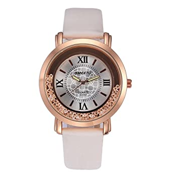 5d64114b3aa JYC Women Luxury Leather Strap Analog Display Quartz Watches Wrist watch  Classic Casual Watch with Leather Band Face Watches (White)  Amazon.co.uk   Watches