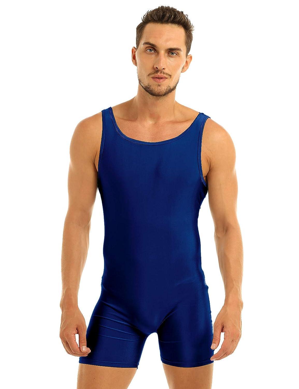 Vintage Men's Swimsuits – 1930s to 1970s History MSemis Mens Leotard Bodysuit Underwear Spandex One-Piece Dance Unitard Biketard Jumpsuit Singlet Navy Blue X-Large $11.90 AT vintagedancer.com