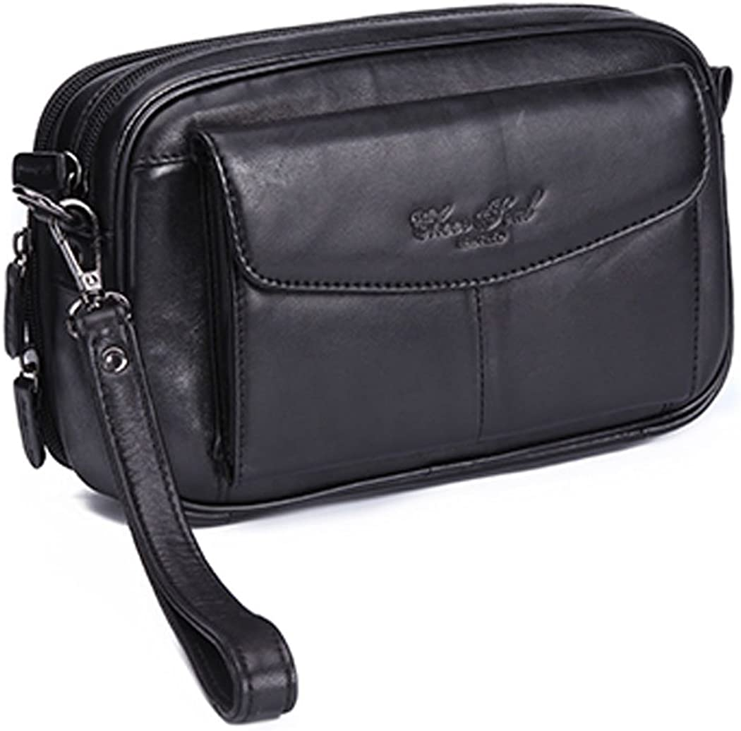 Mens Handbag Clutch Bag PU Leather Purse Cell Phone Holder Zip Wallet Wrist Bags