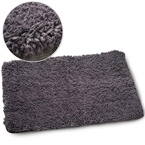 Luxe Plush Shag Bath Mat Rug Non Slip Backing Microfiber Absorbent 19.5 x 31.5 Inch (Dark Gray)