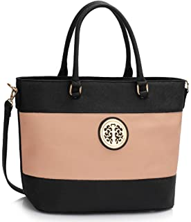 64017b4a5f31 Womens Large Shoulder Handbags Ladies Designer Faux Leather Bag New with  Top Zip Closure