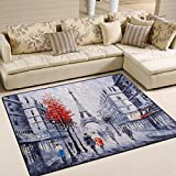 Naanle Oil Painting Paris Area Rug 5'x7′, France Eiffel Tower Polyester Area Rug Mat for Living Dining Dorm Room Bedroom Home Decorative For Sale