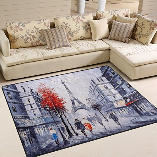 Paris France Oil Painting - Naanle Oil Painting Paris Area Rug 5'x7', France Eiffel Tower Polyester Area Rug Mat for Living Dining Dorm Room Bedroom Home Decorative