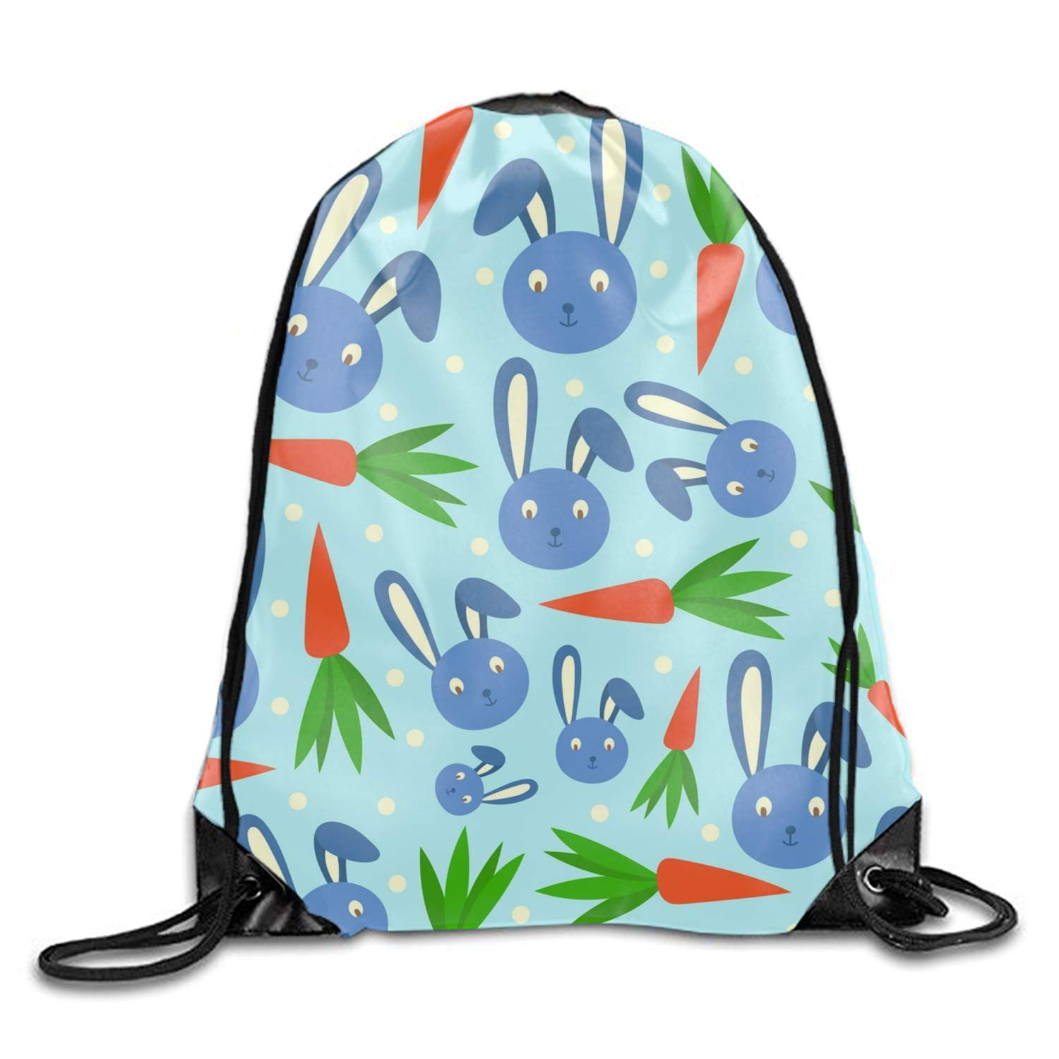 Rabbit Cartoon Gym Drawstring Bags Draw Rope Shopping Travel Backpack Tote Student Camping