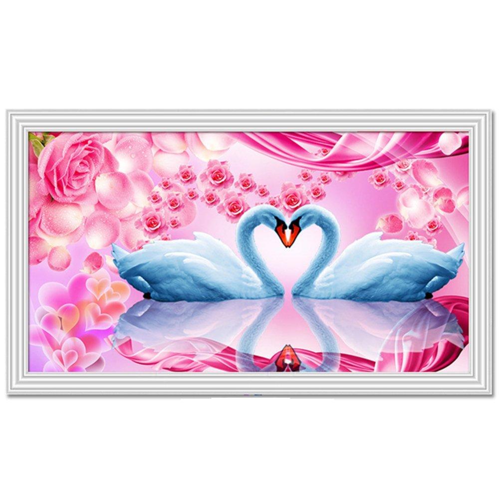 QIANDD 5D Diamant Malerei Kreuzstich Rose Swan Hochzeit Geschenk Wandbild,160  107cm