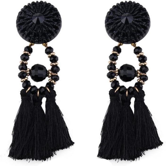 Emorias 1Pair Pendientes de Cristal Borla Aleación Piedras Preciosas Pendientes de Mujer de Moda Joyería Accesorios - Negro